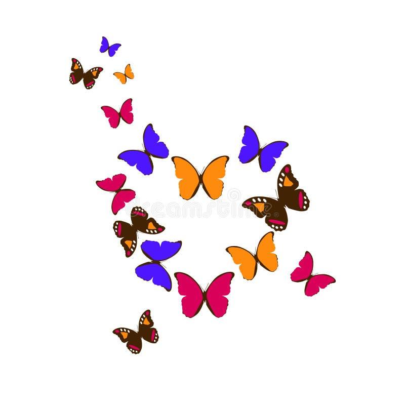 Färgrik hjärta av fjärilar royaltyfri illustrationer