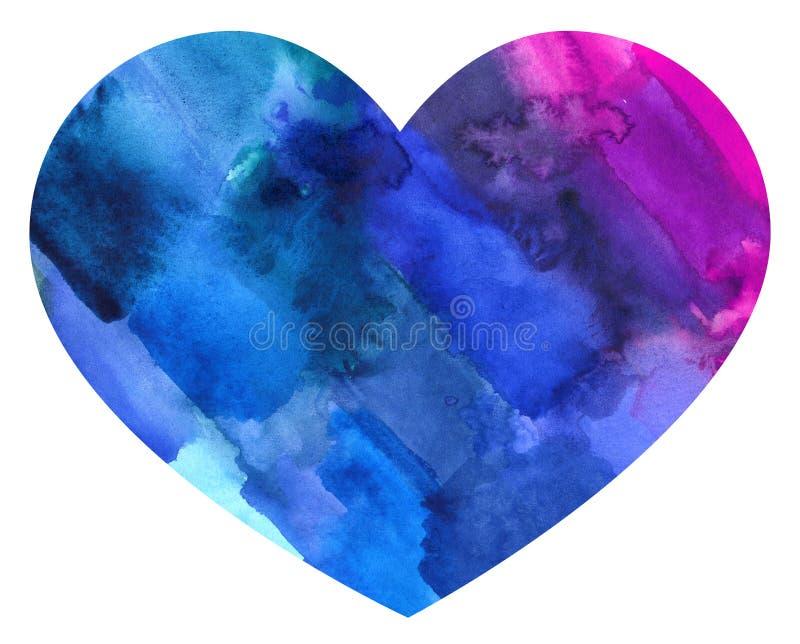 Färgrik hjärta för abstrakt vattenfärg vektor illustrationer