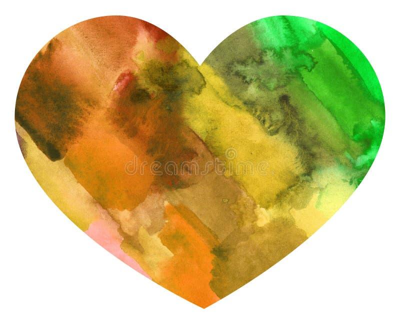 Färgrik hjärta för abstrakt vattenfärg royaltyfri illustrationer
