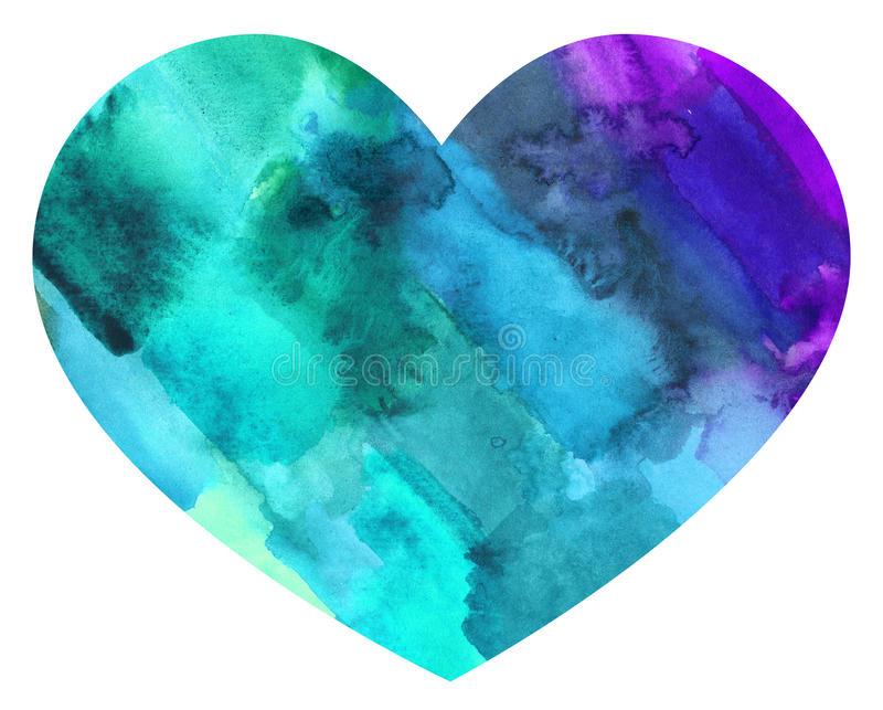Färgrik hjärta för abstrakt vattenfärg stock illustrationer