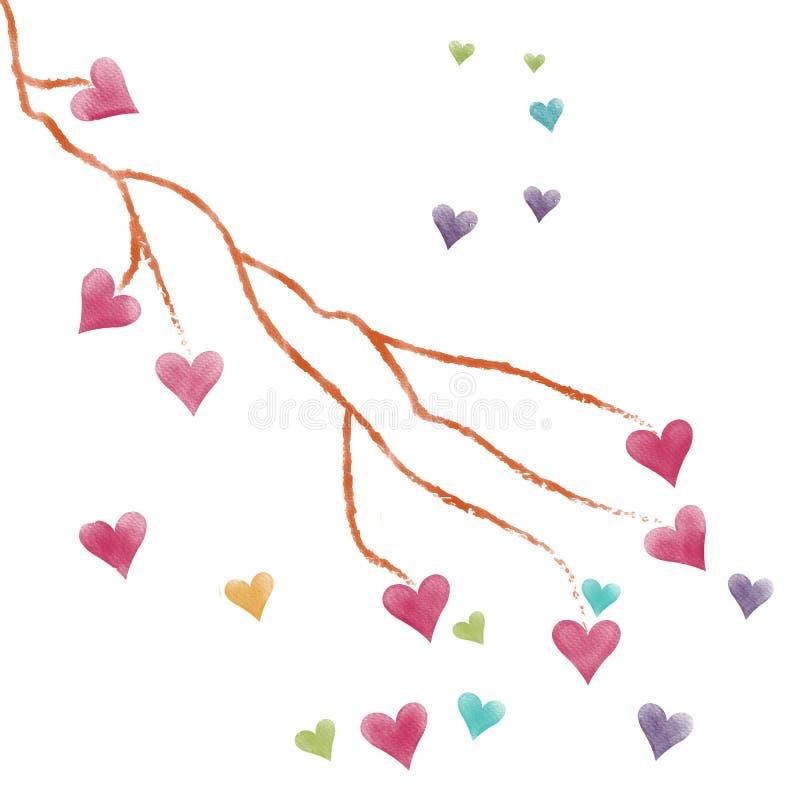 Färgrik hjärta för valentin och trädfilial på hösten, bild för målning för vattenfärg stock illustrationer