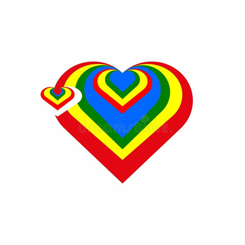 färgrik hjärta logotyp symbol royaltyfri illustrationer
