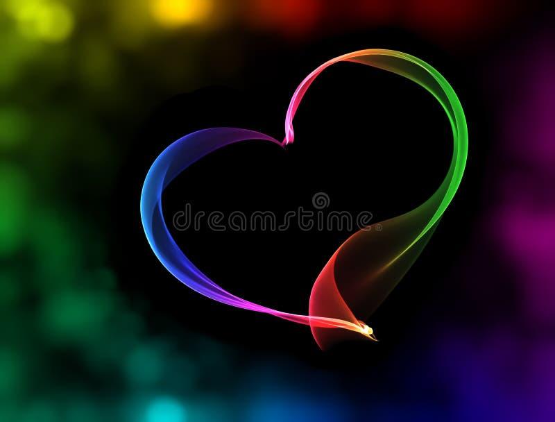 Färgrik hjärta med bokehljus royaltyfri illustrationer