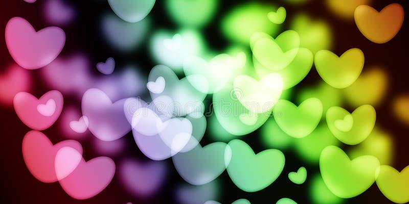 Färgrik hjärta med suddighetsbakgrund vektor illustrationer