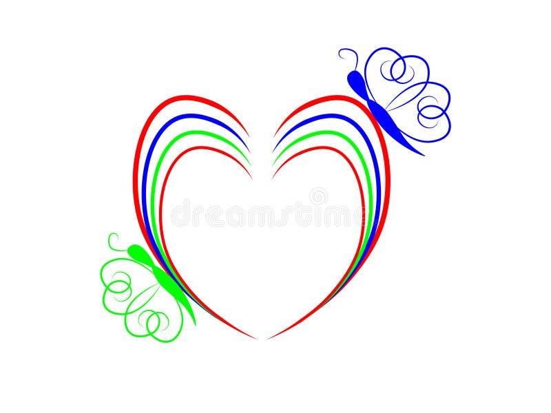 Färgrik hjärta och fjäril royaltyfria foton