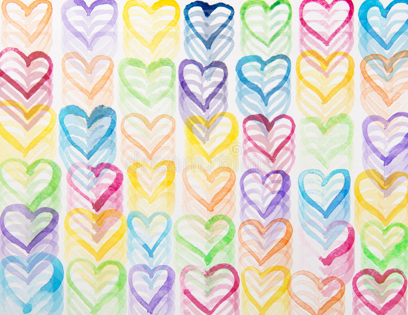 Färgrik hjärtavattenfärg stock illustrationer