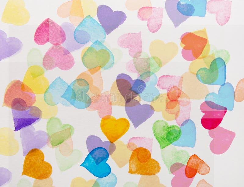Färgrik hjärtavattenfärg royaltyfri illustrationer