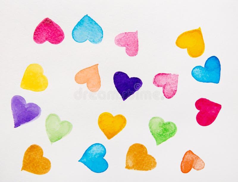 Färgrik hjärtavattenfärg vektor illustrationer