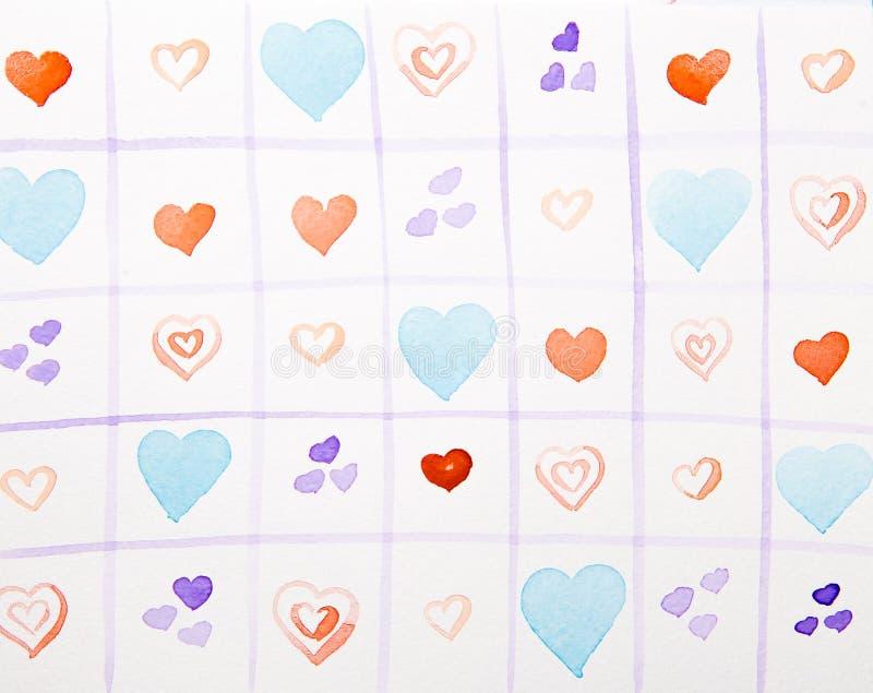 Färgrik hjärtavattenfärg i burar royaltyfri illustrationer