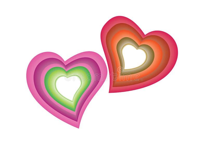 färgrik hjärtavektor royaltyfri illustrationer