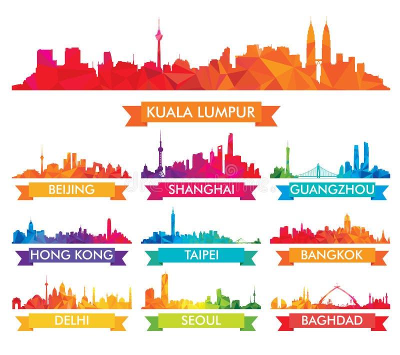 Färgrik horisont av asiatiska städer vektor illustrationer