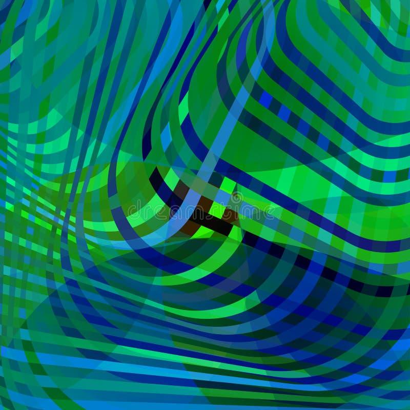 Färgrik idérik vriden abstrakt bakgrund med färgrika förvridna krabba linjer Effekt för optisk illusion Dekorativ designtextu royaltyfri illustrationer