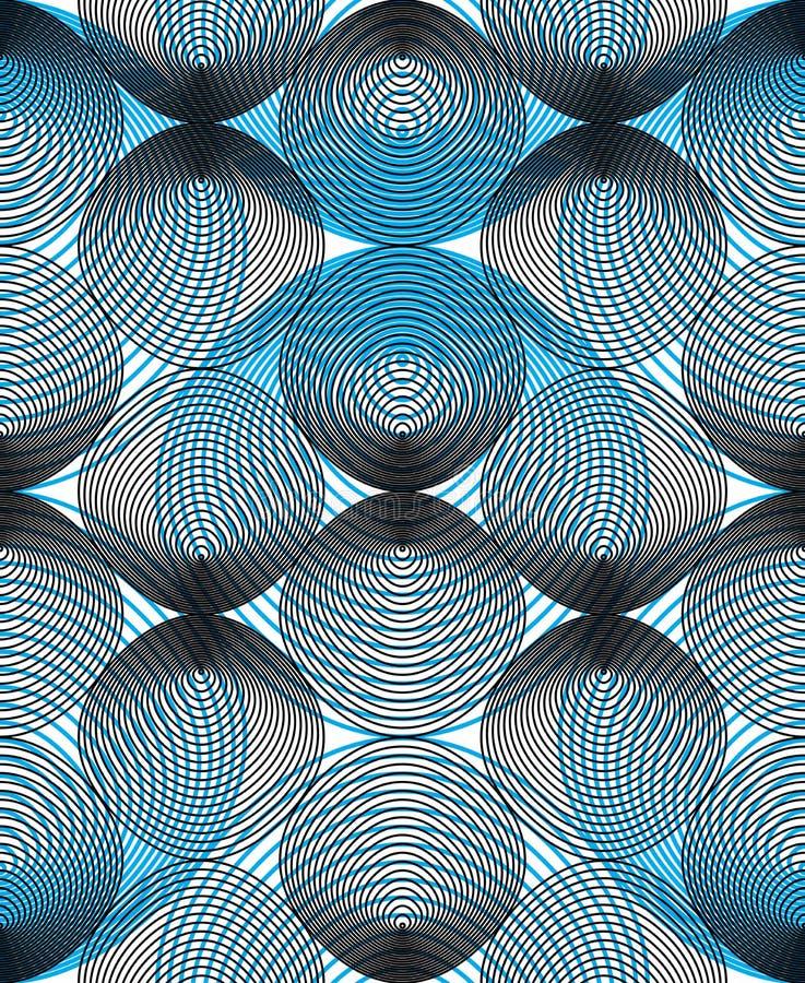 Färgrik illusive abstrakt sömlös modell med överlappande geo royaltyfri illustrationer