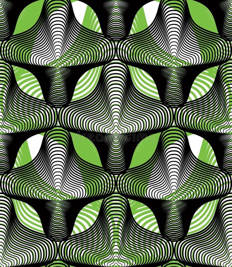 Färgrik illusive abstrakt sömlös modell med överlappande geo vektor illustrationer