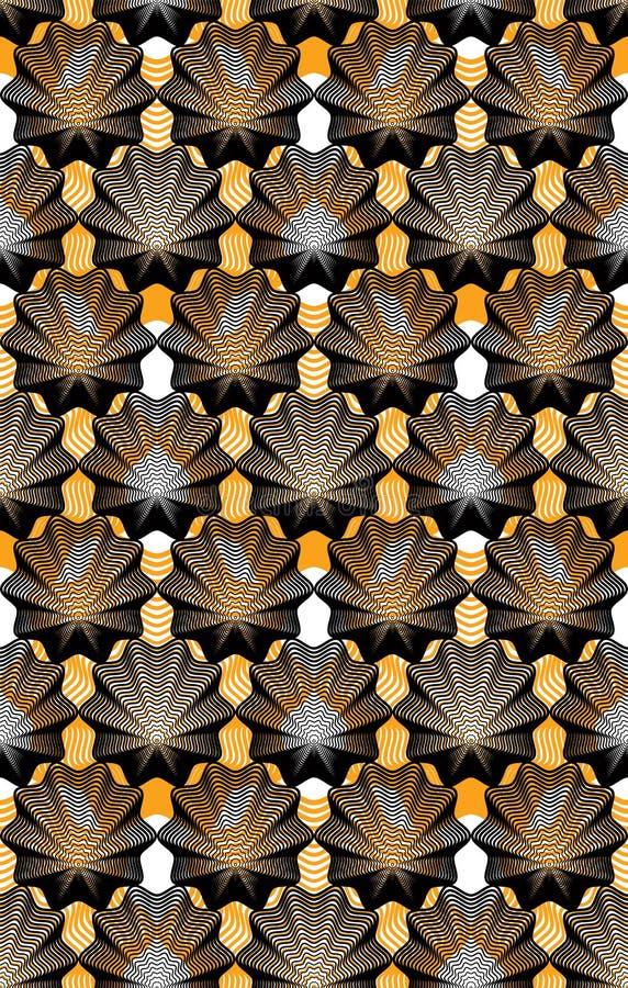 Färgrik illusive abstrakt sömlös modell med överlappande geo stock illustrationer