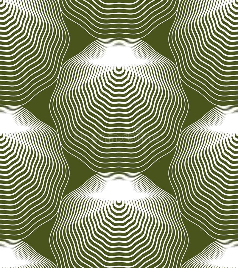 Färgrik illusive abstrakt sömlös modell med geometrisk figur stock illustrationer