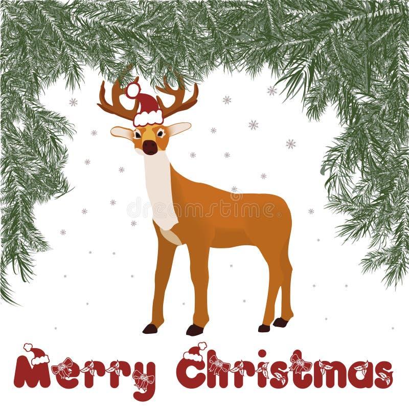 Färgrik illustration av hjortar i vinterdag royaltyfri illustrationer