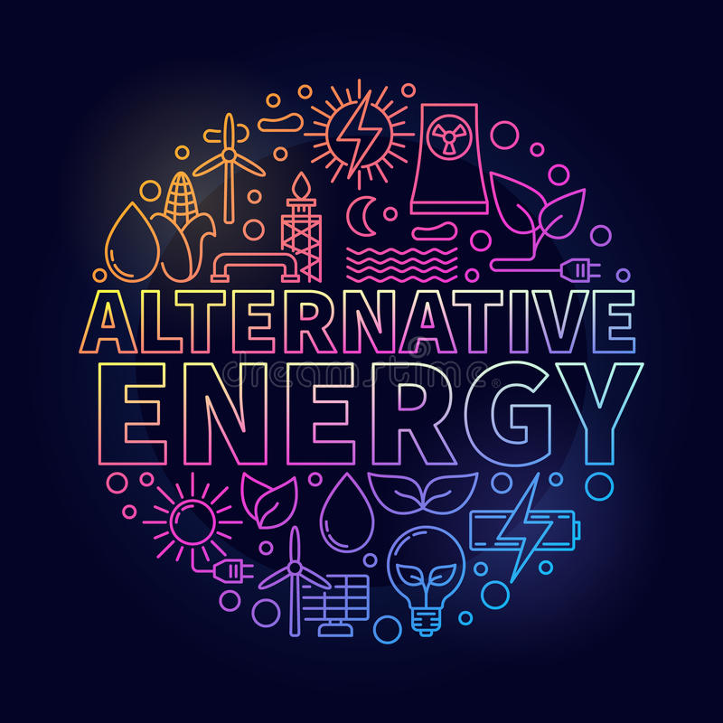 Färgrik illustration för alternativ energi vektor illustrationer