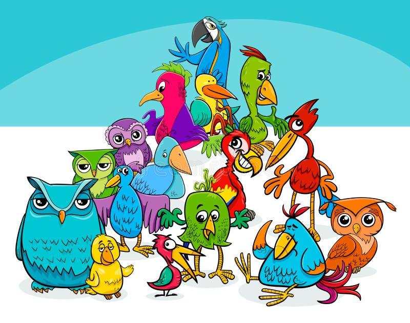 Färgrik illustration för fågelgrupptecknad film stock illustrationer