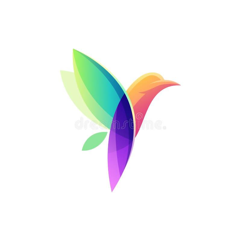 Färgrik illustration för fågellogodesign royaltyfri illustrationer