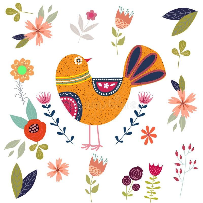 Färgrik illustration för konst med den härliga abstrakta folk fågeln och blommor Konstverk för garnering din inre och för bruk i  vektor illustrationer