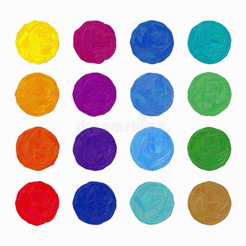 Färgrik illustration för konst för oljamålning hand-målad: cirklar stock illustrationer