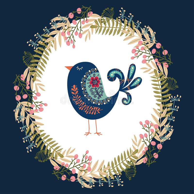 Färgrik illustration för konstvektor med den härliga abstrakta folk fågeln och den blom- kransen stock illustrationer