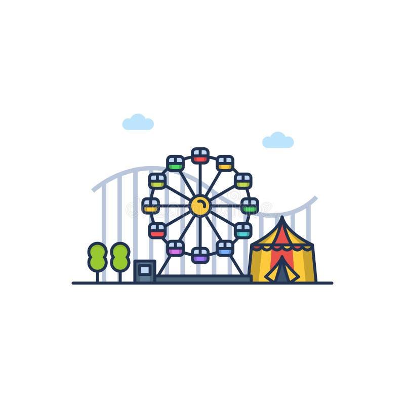 Färgrik illustration för nöjesfält på den vita bakgrunden också vektor för coreldrawillustration royaltyfria bilder