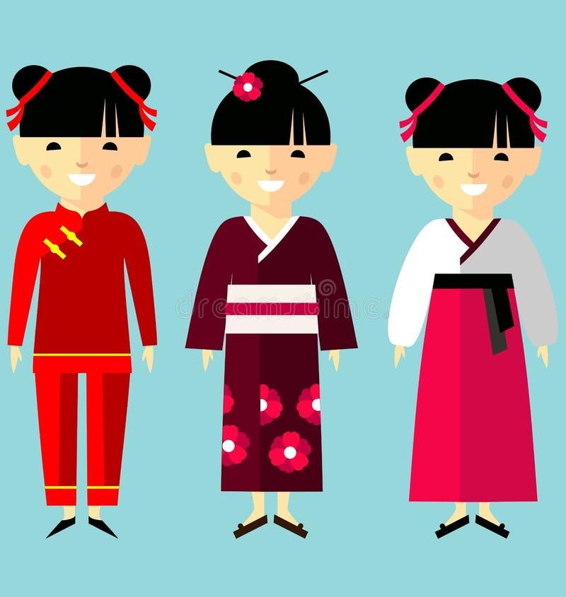 Färgrik illustration för vektor av asiatiska flickor i nationell kläder stock illustrationer