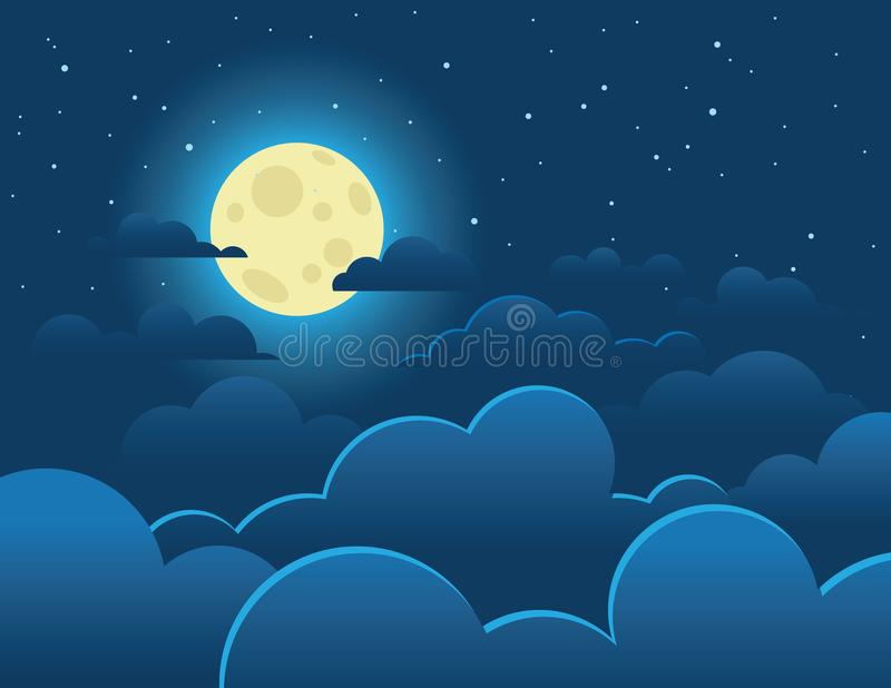 Färgrik illustration för vektor av en ljus fullmåne på en bakgrund av en mörk himmel royaltyfri illustrationer