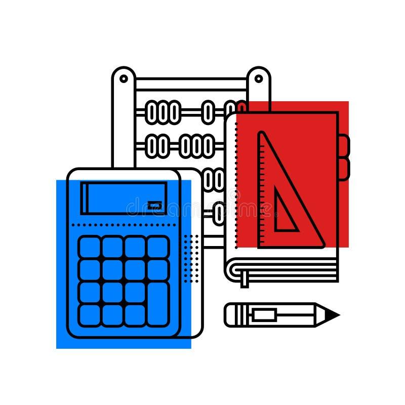 Färgrik illustration om matematik i modern översiktsstil Högskolaämnessymbol vektor illustrationer