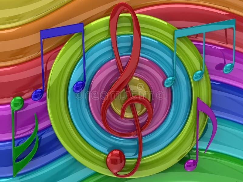 färgrik illustrationmusik stock illustrationer