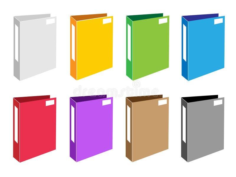 Färgrik illustrationuppsättning av kontorsmappsymboler stock illustrationer