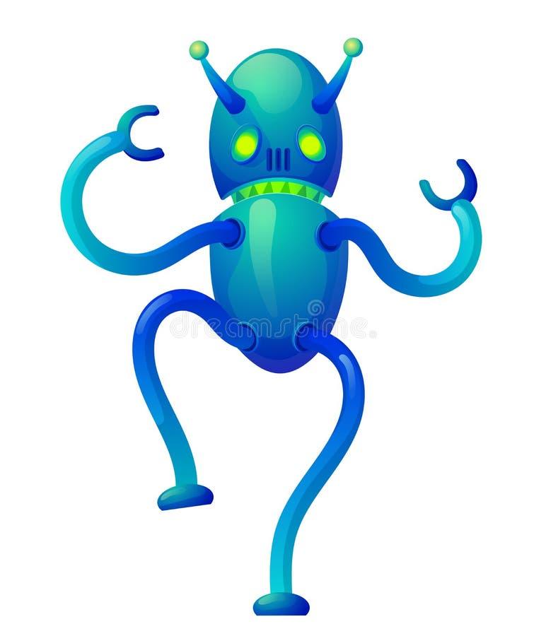 Färgrik ilsken vektorrobot stock illustrationer