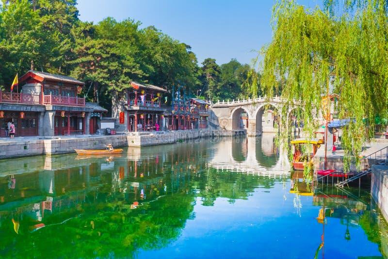 Färgrik imperialistisk plats för sommarslott Turist- begrepp Peking, arkivfoton