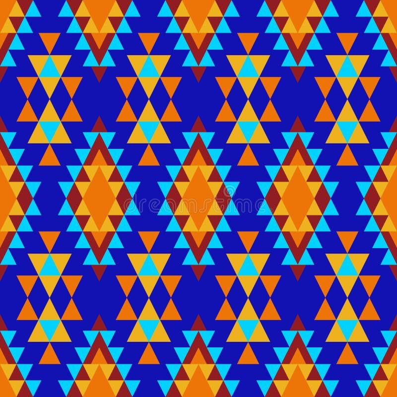 Färgrik indisk prydnad av gult, orange och blått, diamanter och trianglar på ett mörkt - blå bakgrund royaltyfri illustrationer