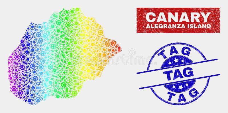 Färgrik industriell Alegranza ööversikt och att bedröva etikettsvattenstämplar stock illustrationer