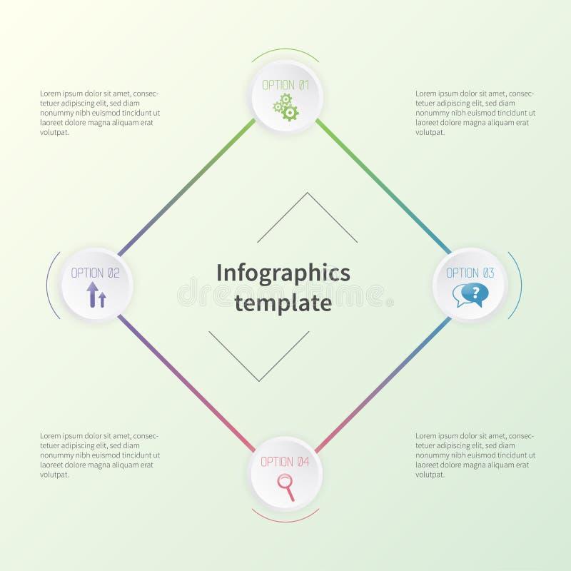 Färgrik infographic mall med affärssymboler Begrepp i plan stil royaltyfria bilder