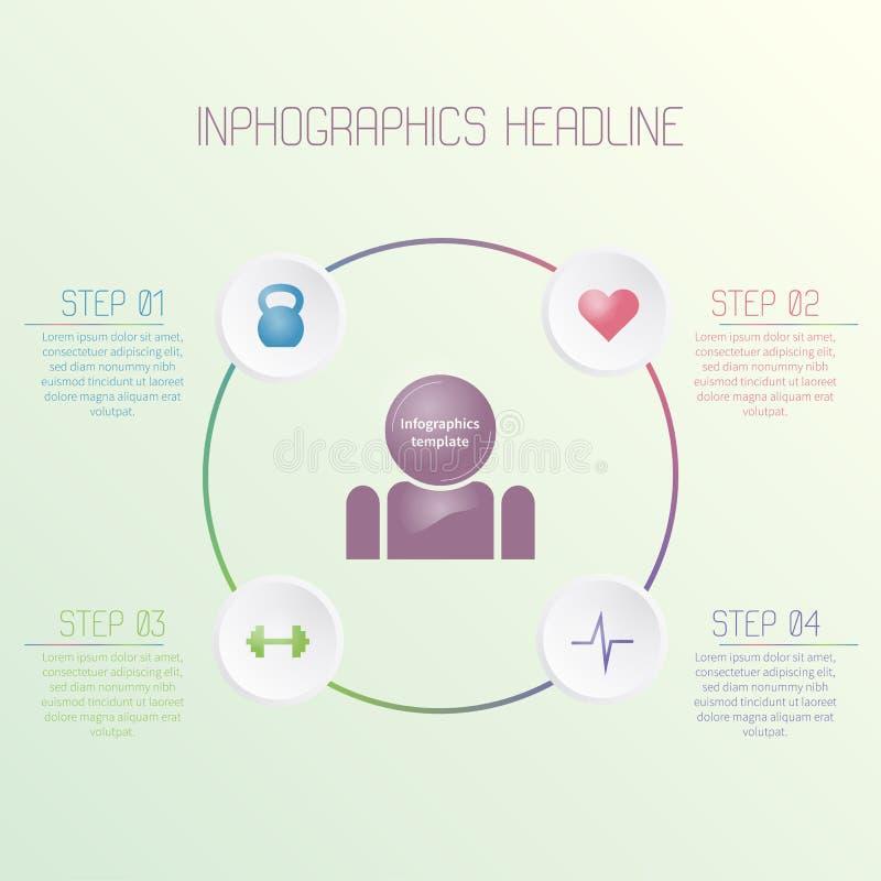 Färgrik infographic mall med konditionsymboler Färgrik affärsidé arkivfoton