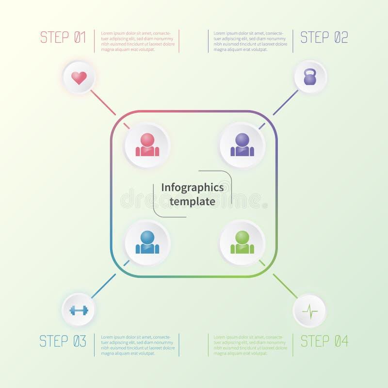 Färgrik infographic mall med konditionsymboler Färgrik affärsidé royaltyfria foton