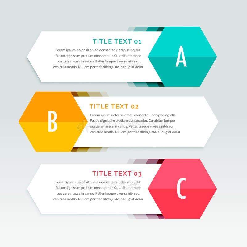 Färgrik infographicsmall för tre moment royaltyfri illustrationer