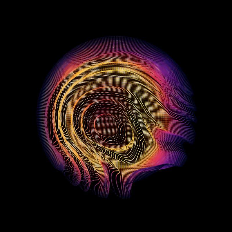 Färgrik ingreppssfär för abstrakt vektor på mörk bakgrund Futuristiskt stilkort royaltyfri illustrationer