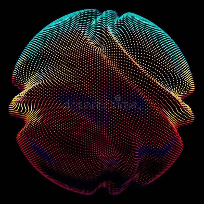 Färgrik ingreppssfär för abstrakt vektor på mörk bakgrund Futuristiskt stilkort vektor illustrationer