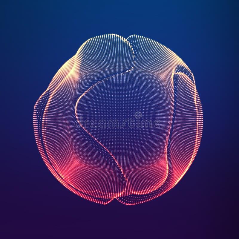 Färgrik ingreppssfär för abstrakt vektor på mörk violett bakgrund Futuristiskt stilkort royaltyfri illustrationer