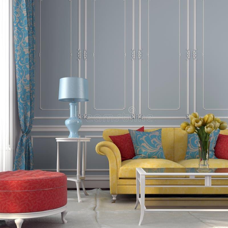 Färgrik inre mot bakgrunden av den blåa väggen royaltyfri fotografi