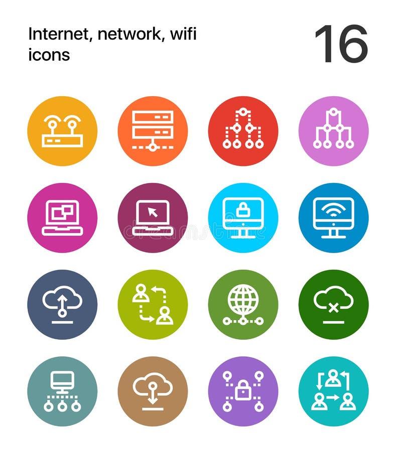 Färgrik internet, nätverk, wifisymboler för rengöringsduk och mobil designpacke 2 vektor illustrationer