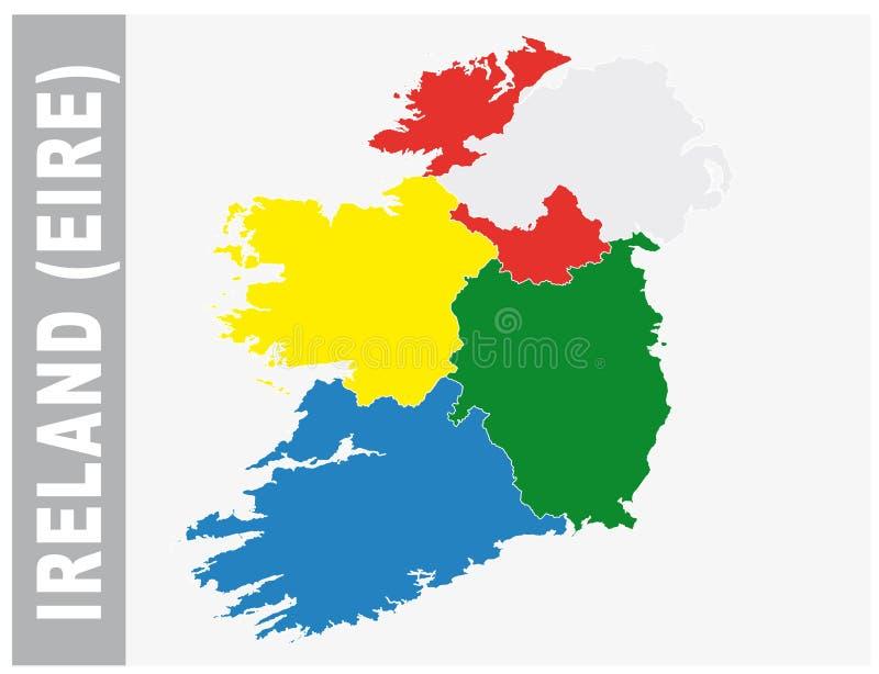 Färgrik Irland, Eire administrativ och politisk översikt stock illustrationer