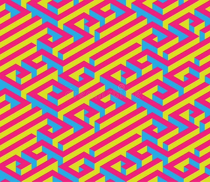 Färgrik isometrisk labyrint seamless prydnad Ljusa kontrastera färger Rött blått, guling stock illustrationer