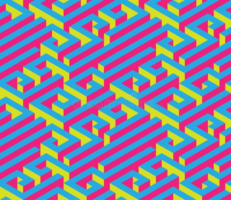 Färgrik isometrisk labyrint seamless prydnad Ljusa kontrastera färger Rött blått, guling royaltyfri illustrationer