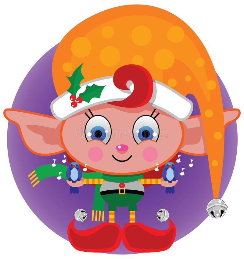 Färgrik julälva i orange pricklock royaltyfri illustrationer